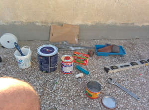 Materials for the gluing and painting